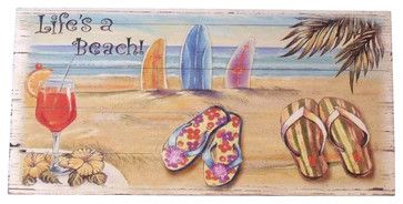"Wooden Sandal Life's a Beach Sign, 16"" beach-style-novelty-signs"