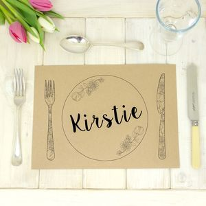 Personalised Kraft Wedding Table Place Mats - Full of texture, organic fabrics and more moss than you can shake a distressed stick at; Autumn-inspired wedding styling is all about natural simplicity.