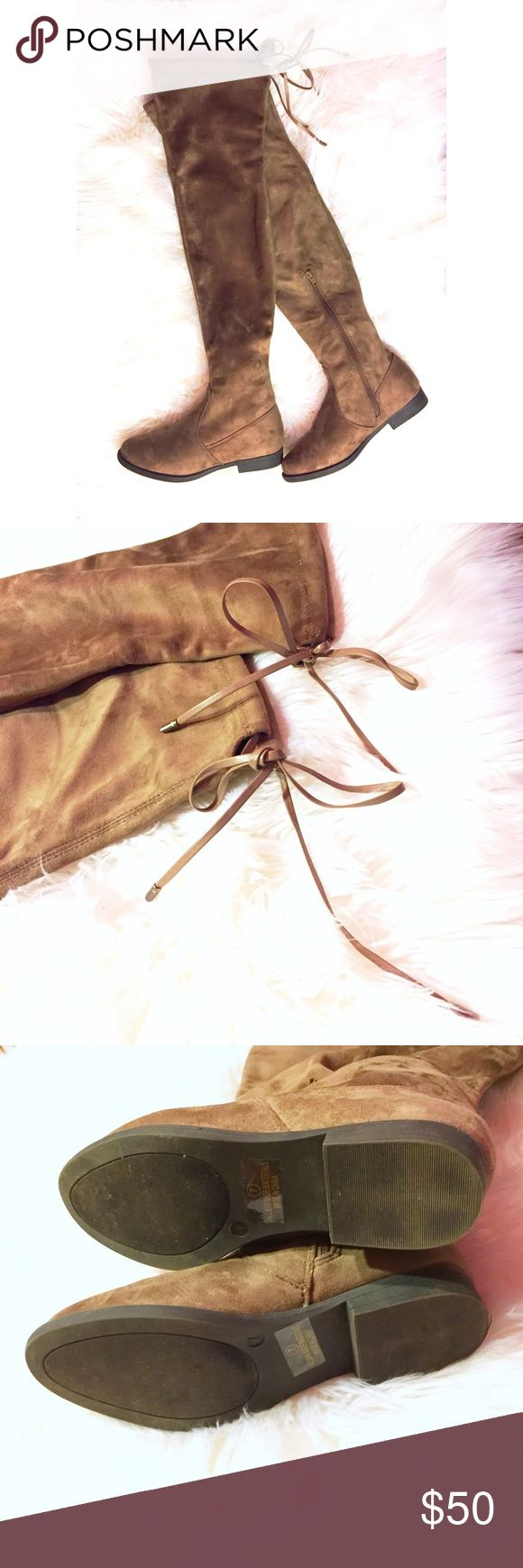 """Taupe OTK Vegan Suede Boots Taupe faux suede over-the-knee boots with a tie back silver-tipped drawstring. 1"""" heel height, 23.5"""" shaft height with heel, 15.5"""" circumference. Inside of foot has a partial zipper closure. Attempted to wear once but wrong size for my foot, bottom sole is almost new (see pics). Comes with original box. Please ask questions and feel free to bundle with other items in my closet for a discount! 💕 Shoes Over the Knee Boots"""