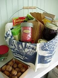 Welcome gift basket- fill it with items indicative of your region or area