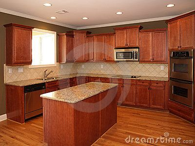 Luxury Cherry Wood Kitchen With Marble Island