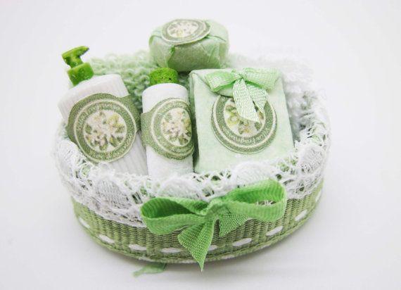 "Miniature dollhouse beauty filled spa basket  (""Fiori d'arancio"" fragrance)"