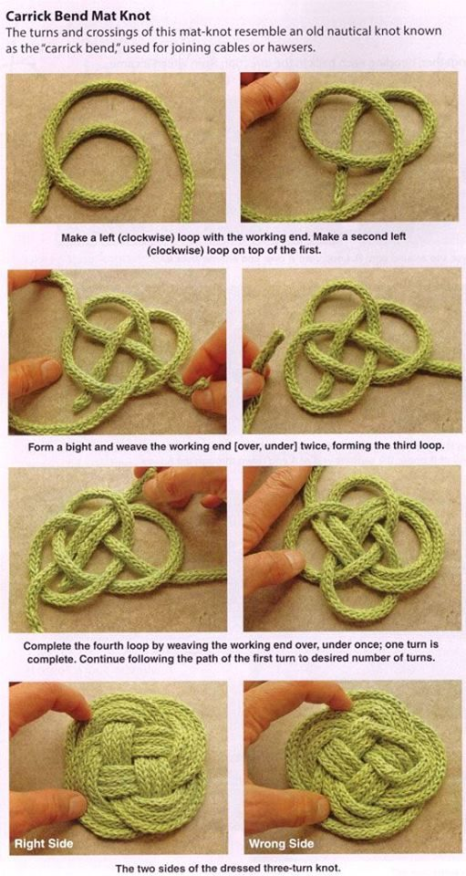 Learn how to make a Carrick Bend Mat Knot