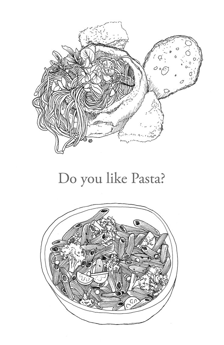 pen drawing. pasta.