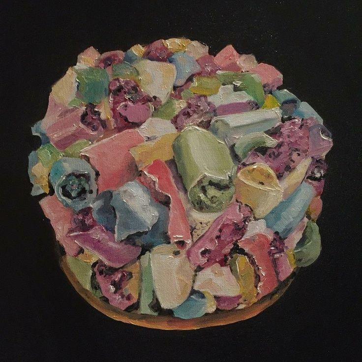 Meringue cake. Oil painting.