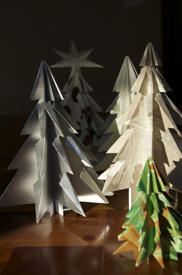 How to make folded paper Christmas trees!