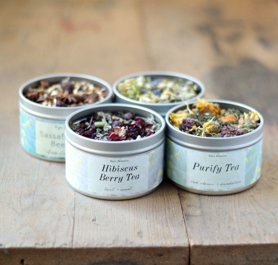 Herbal Tea Gift Set Four Tea Tins of Your Choice by KyraBotanica, $34.00