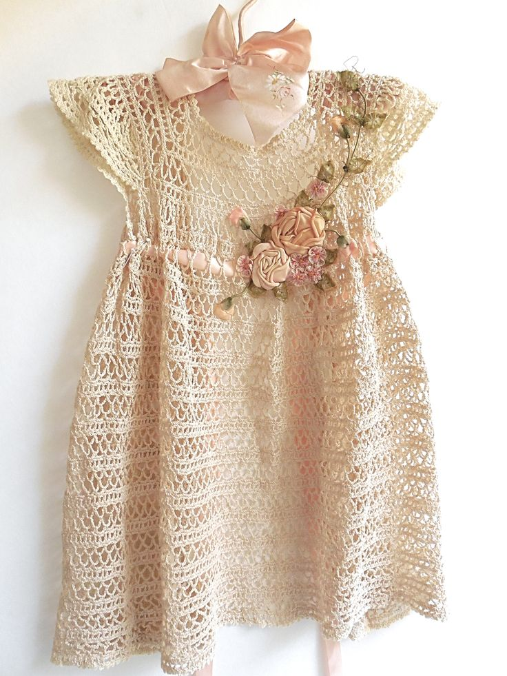 antique crocheted baby dress