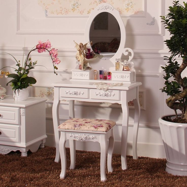 Hot Elegant Home Furniture Dresser Table With Mirror Without Makeup Stool White Dressing Table For Women Bedroom Modern Design