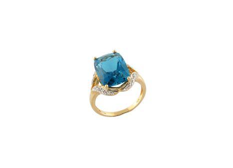 "10K Yellow Gold ""LONDON"" Blue Topaz/ Diamond Ring"