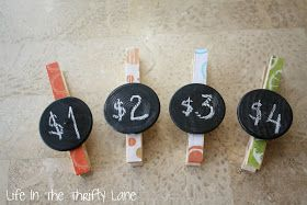 great idea for labeling farmer's market prices- clothespins with chalkboard sign