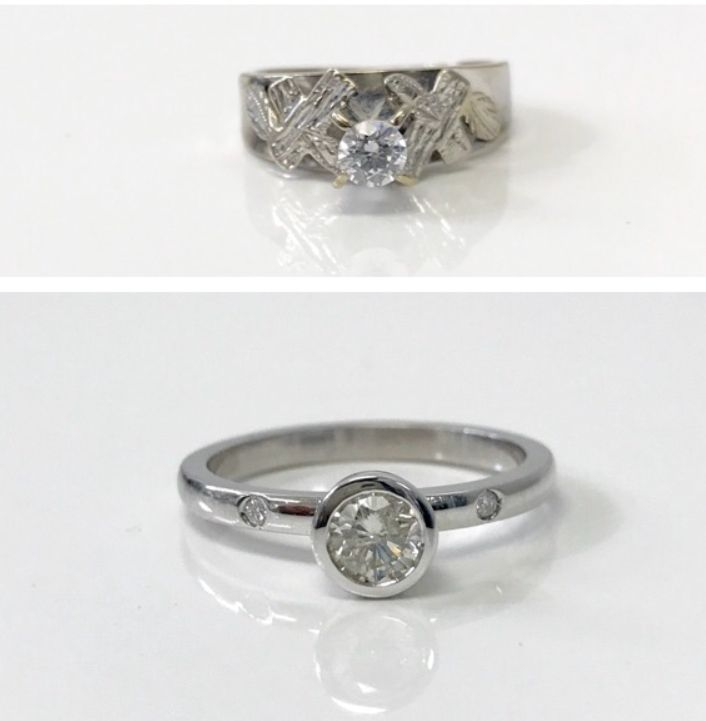 Took this heirloom ring above and made it into a modern engagement ring below! Happy girl! 🍾🍾🎉🎉💍💍