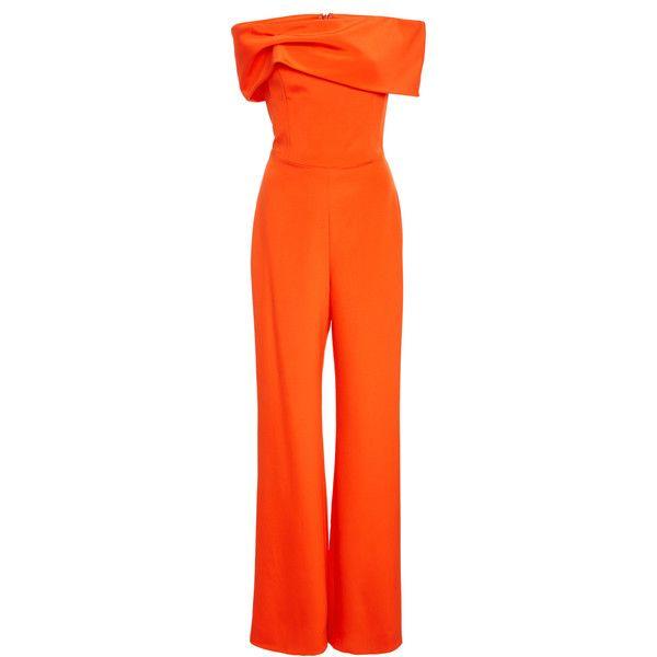 Crepe Strapless Jumpsuit  | Moda Operandi (42 140 UAH) via Polyvore featuring jumpsuits, wide leg jumpsuit, strapless jumpsuit, orange jumpsuit, orange jump suit и crepe jumpsuit