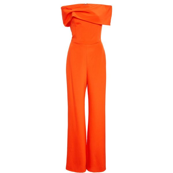 Crepe Strapless Jumpsuit   Moda Operandi (42 140 UAH) via Polyvore featuring jumpsuits, wide leg jumpsuit, strapless jumpsuit, orange jumpsuit, orange jump suit и crepe jumpsuit