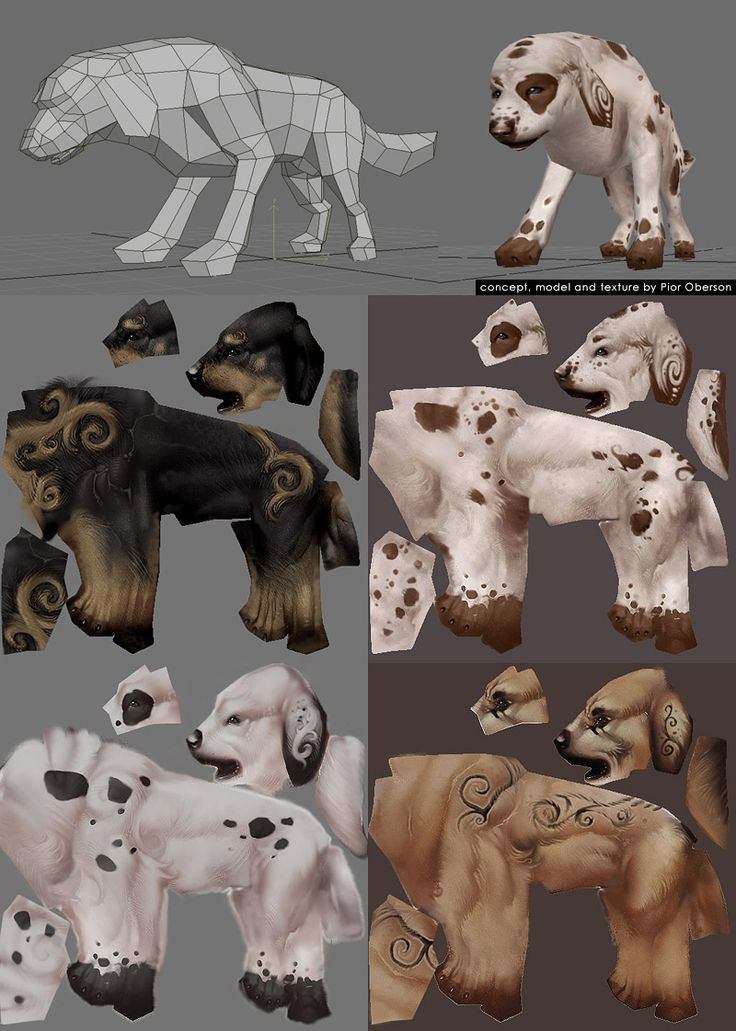 Low poly and texture animal dog