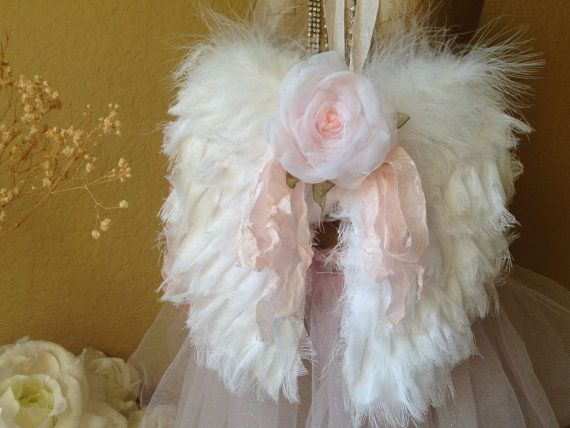 Angel wings, shabby chic, decor, romantic, fabric angel wings, gift, handmade angel wings, snow white, baby shower, photo prop, wedding