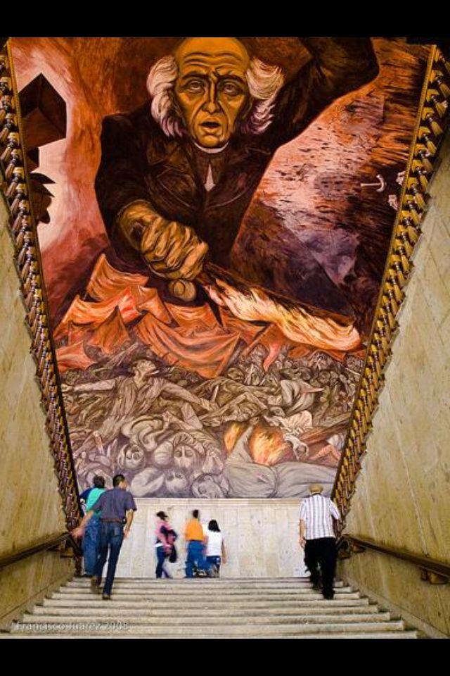 Mural de Hidalgo por Jose Clemente Orozco. Palacio de Gobierno en Guadalajara, Jal. Mexico Muralismo