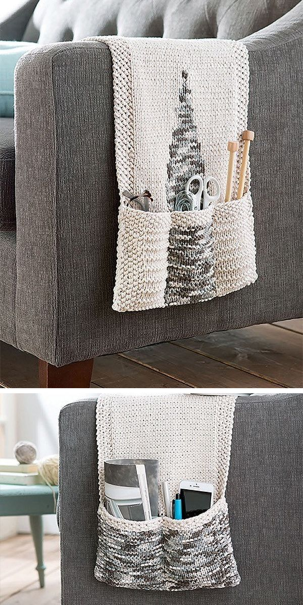 Knitting pattern for Chair Caddy – Pocket organizer hangs over the arm of chair or couch to keep remotes, glassed, and craft tools close at hand. Designed by Lisa Gentry. One of the patterns in Chunky Home Decor – 11 Bulky Yarn Projects from Leisure Arts