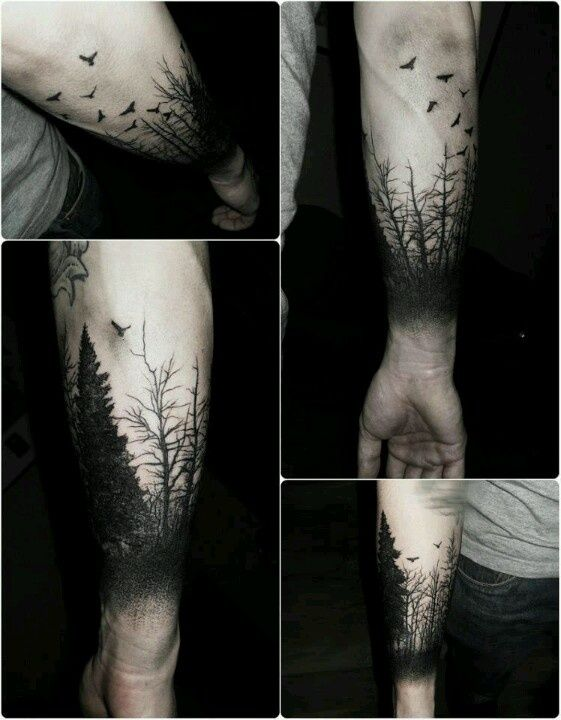 Forest Silhouette Tattoo tattoo on pinterest forests, black forest and tree tattoos