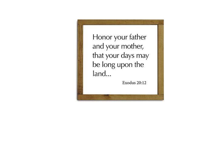 Scripture Wall Sign: Exodus 20:12 The 5th Commandment
