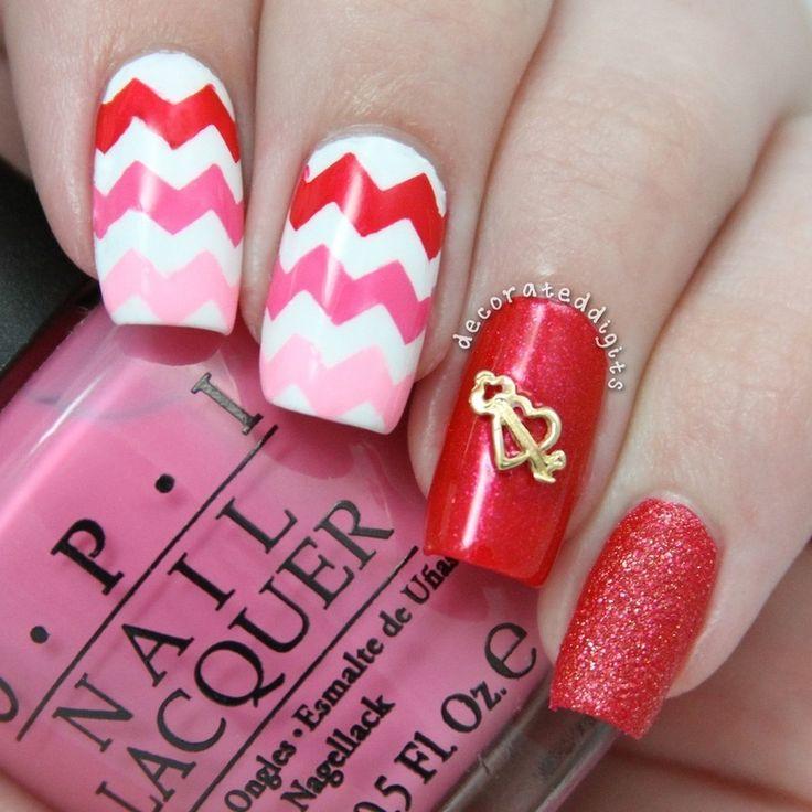 Valentine chevron skittlette nail art by Jordan