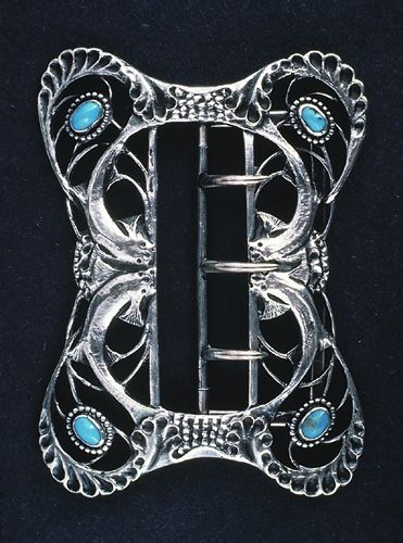Charles Robert Ashbee vintage silver buckle with turquoise  Art Nouveau jewelry