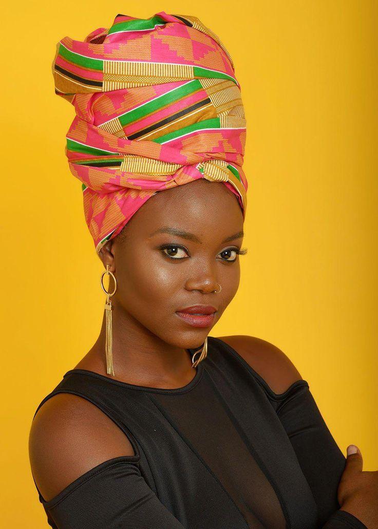 African Print Head Wrap/Scarf (Pink/Beige) #boxbraidsandheadwraps   – box braids and headwraps