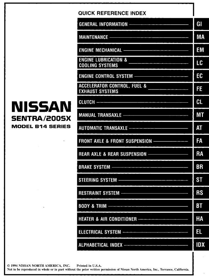 New Post Nissan Sentra 200sx Model B14 Series 1995 Service Manual Has Been Published On Procarmanuals Com Https Procarmanuals C Nissan Sentra Nissan Axle