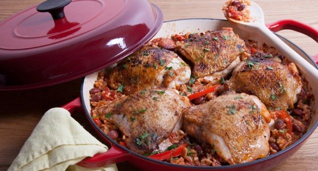 This Chicken & Chorizo Rice Bake is warm, hearty and satisfying – the perfect winter dinner. Thanks for the recipe New Idea Magazine.  #winterwarmer #foodie #recipe