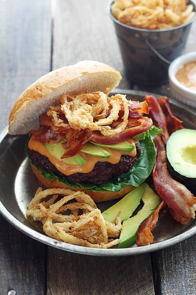 Make a bacon burger even more enticing by adding crispy onion strings on top.