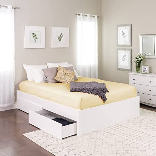 New Queen Select 4 Post Platform Bed 2 Drawers White Online Shopping Bed Without Headboard Modern Platform Bed Raised Bed Frame