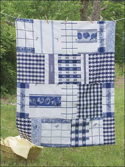 Dish Towel Throw- goes to show that all different kinds of things can be sewn together to make a quilt