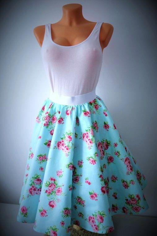 da1c4d18e1ff sukně kolo Retro kolová sukně z kvalitní pevné bavlny. V pase do gumy padne  každé