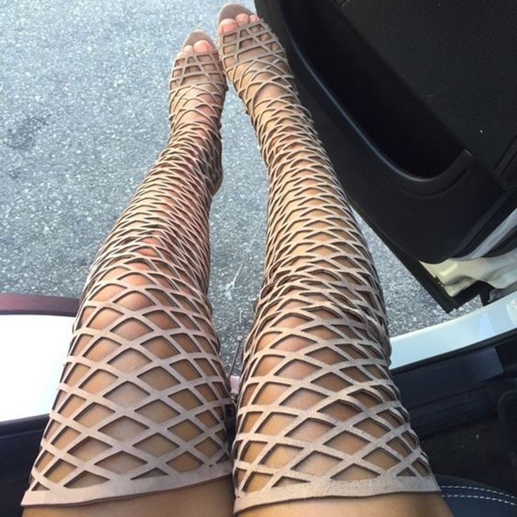 Shoespie Nude Cage Over the Knee Sandal Boots