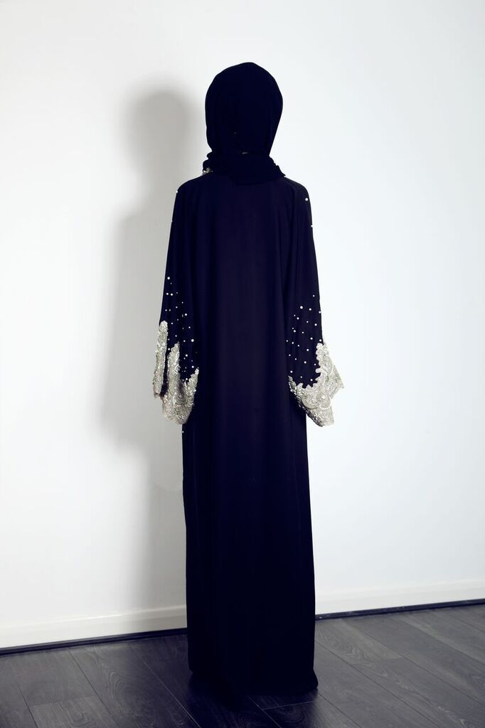 The back of our beautiful lace, pearly and crystal abaya, available now from our website for £220