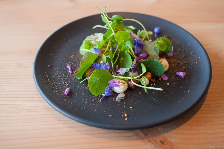 Veal tartare, horseradish cream, pickled shallots, brad crumbs, cress salad, nasturtium, and wild Bornholm cornflowers. I had this recommended by the producers of the ceramics, Lov i Listed, and it was a great tip!