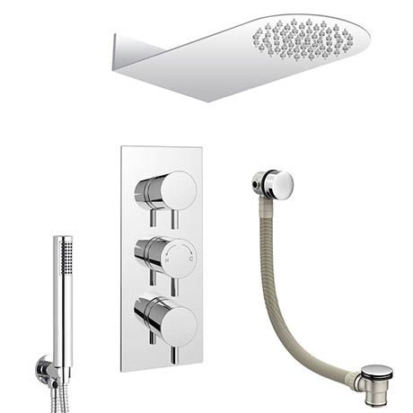 Cruze Modern Shower Package (Fixed Head, Round Handset + Overflow Bath Filler)