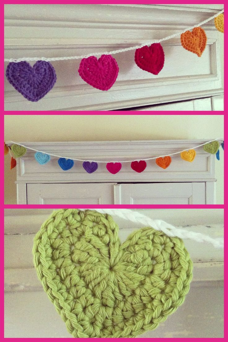 Haken Slinger, hartjes, garland, hearts, Crochet