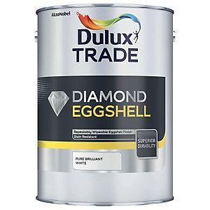 Dulux Trade Diamond Quick Dry Eggshell Emulsion Paint Pure Brilliant White 5L