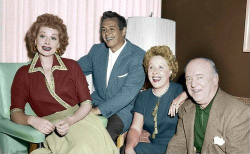 "The Cast of ""I Love Lucy"" - Colorized    Lucille Ball, Desi Arnaz, Vivian Vance, and William Frawley"