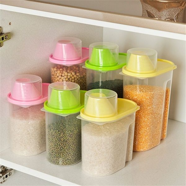 Home Kitchen Transparent Plastic Food Container Grains Storage Box 2 5l With Cover And Caps Wish Cereal Storage Plastic Food Containers Food Containers