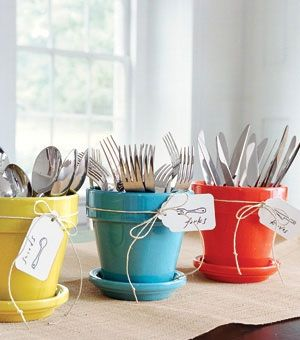 Click Pick for 40+ Creative DIY Kitchen Storage Ideas - Use Glossed Pot Holders as Cutlery Holders