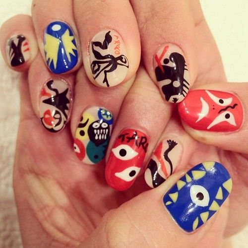 Modern art nails. Inspired by the art of Tarō Okamoto.