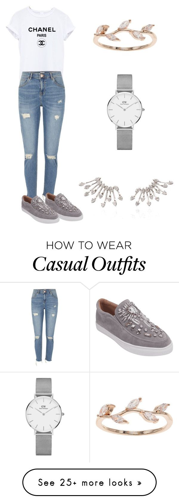 """""""Casual"""" by eehuang on Polyvore featuring River Island, Daniel Wellington and LC Lauren Conrad"""