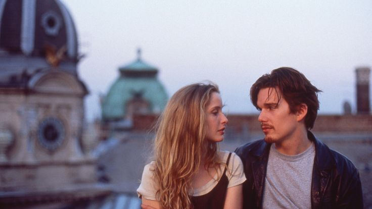 """Left to right: Julie Delpy and Ethan Hawke in Before Sunrise Photo courtesy The Criterion Collection."""