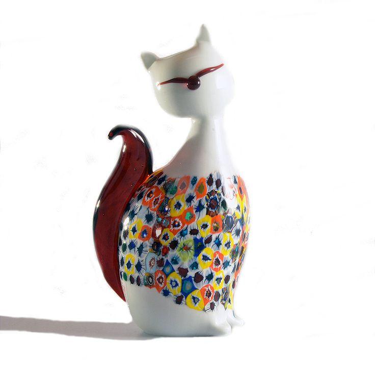 VICKY White Cat by DIPI #yourmurano #glassart #shopping