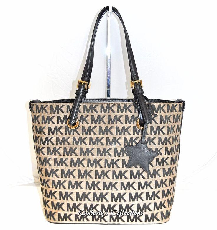 Michael Kors Jet Set Signature Grab Bag Tote Purse w/ Star Charm Black Beige NWT #MichaelKors #TotesShoppersShoulderBag