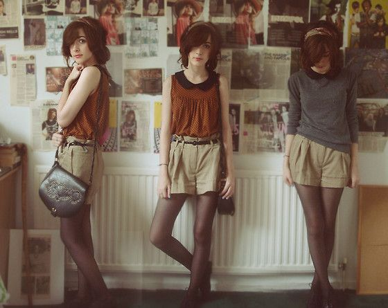 peter pan collar + shorts over tights? I'm thinking a central component is finding a black or neutral top with the collar and layering it under blouses and sweaters
