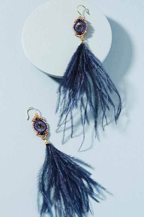 Wispy Feather Drop Earrings