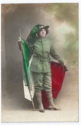 WW1 Patriotic Italy Woman Officer Uniform Sottotenente RP PC Cartolina Postale